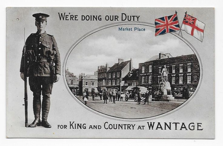 "WANTAGE, TOWN SQUARE, PATRIOTIC ""DOING OUR DUTY AT WANTAGE"", ARMED SOLDIER. 
