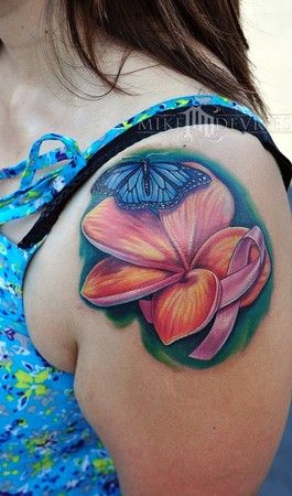 breast cancer awareness pink ribbon flower butterfly tattoo by Mike DeVries of Northridge, CA