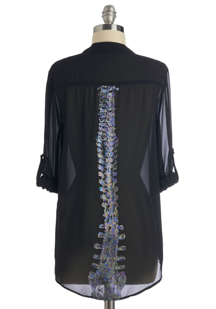 Doin' Just Spine Top. Upon your arrival, your pals are sure to stop what theyre doing to admire your sheer black top! #black #modcloth