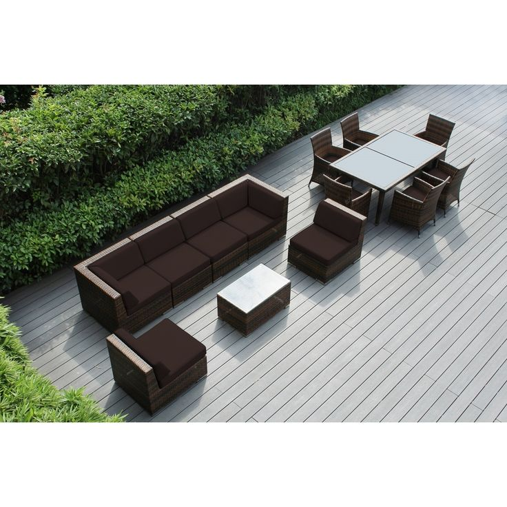 Ohana Outdoor Patio 14 Piece Mixed Wicker Sofa and Dining Set with Cushions