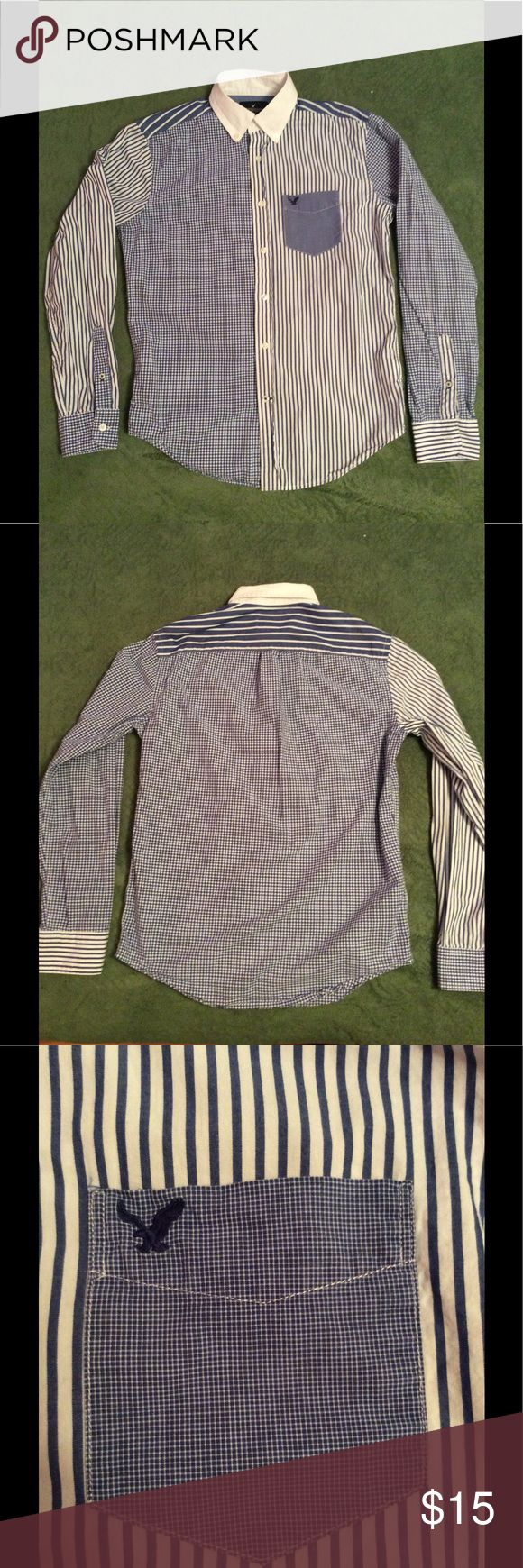 Host Pick  Men's color block American Eagle Shirt American Eagle multi-patterned color block shirt. Item is in wonderful condition. I just grew out of it American Eagle Outfitters Shirts Casual Button Down Shirts