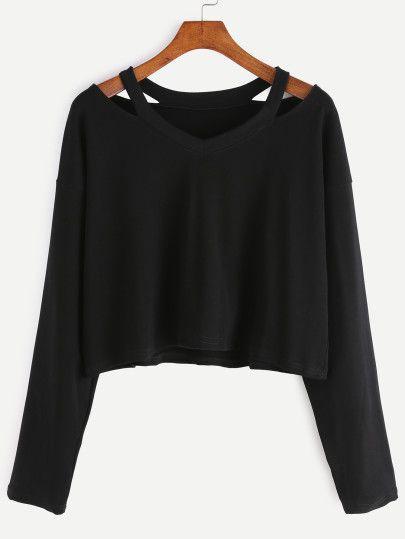Cut-Outs T-shirt -schwarz