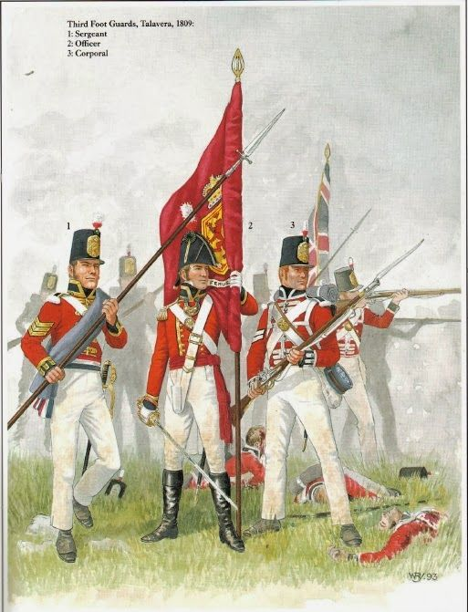 3rd Regiment of Foot Guards at Talavera 1809, by (artist unknown). Help eliminate poor pinning! If you know the artist and can supply a link, please update this pin. Thank you!