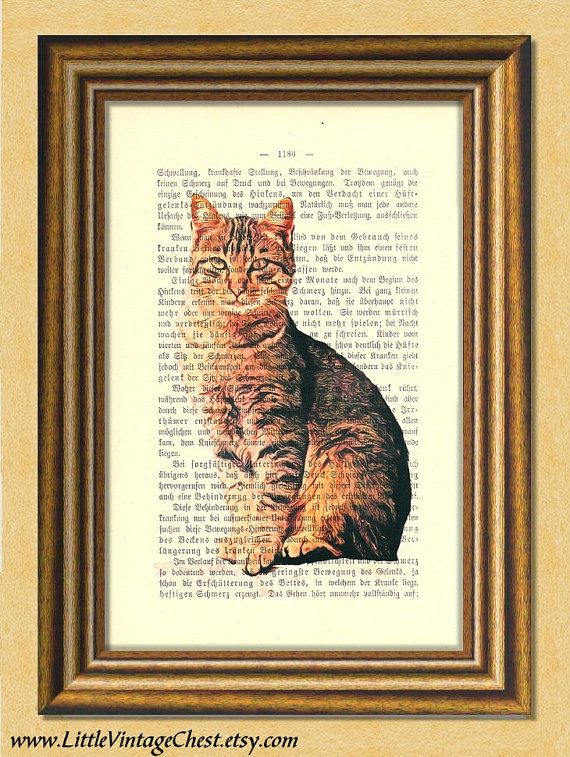 Black Friday! Buy 1 Get 2! - My TABBY CAT  Dictionary art print Wall art by littlevintagechest, $7.99