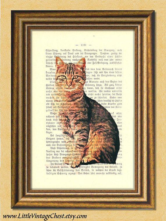 Black Friday! Buy 1 Get 2! - My TABBY CAT  Dictionary art print Wall art by littlevintagechest, $7.99