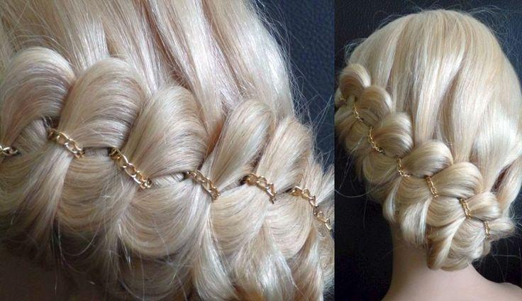 Haare/Zopf an der Kopfhaut flechten. Schöne festliche Frisur.Cute Braid ...