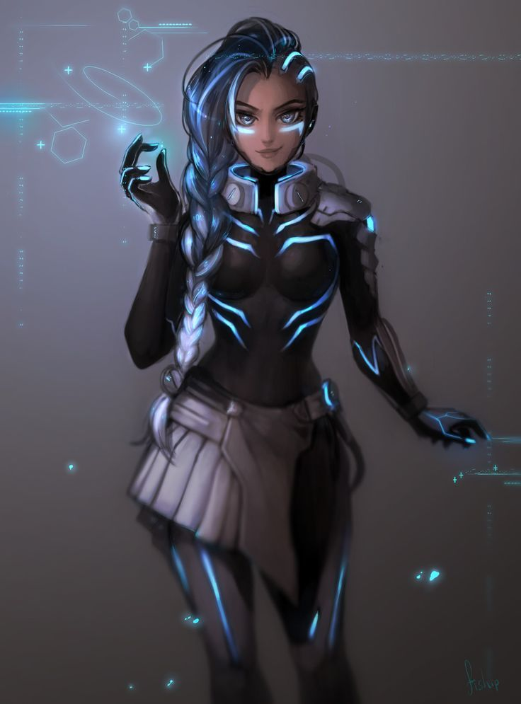 Cyber Space Sombra - overwatch fan art | sombra with a sci fi skin - science fiction space | #OverwatchArt #sombra