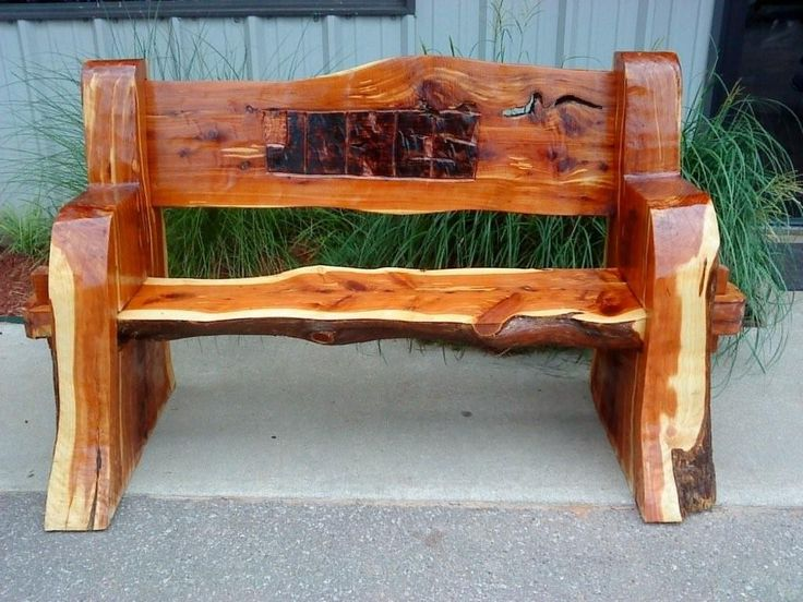 Carved Rustic Cedar Bench Our Creations Furniture