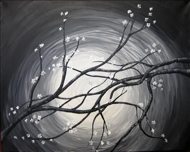 Black and White Moonlit Cherry Blossoms - Sarasota, FL Painting Class - Painting with a Twist
