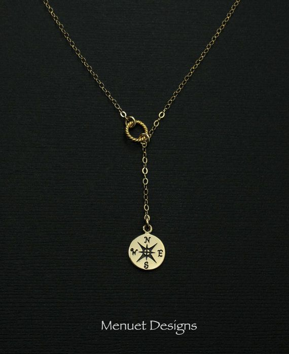 Gold Compass Lariat Necklace Gold Jewelry Simple by MenuetDesigns
