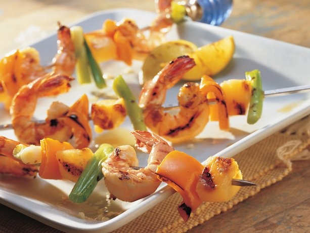 YUMMY!  Grilled Spicy Garlic Shrimp, Pepper and Pineapple Kabobs