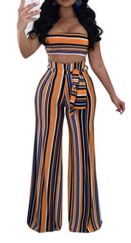 f0bb37edcbd6 Speedle Sexy Colorful Stripes Tube Crop Top Long Wide Leg Pants Set 2 Pieces  Outfits