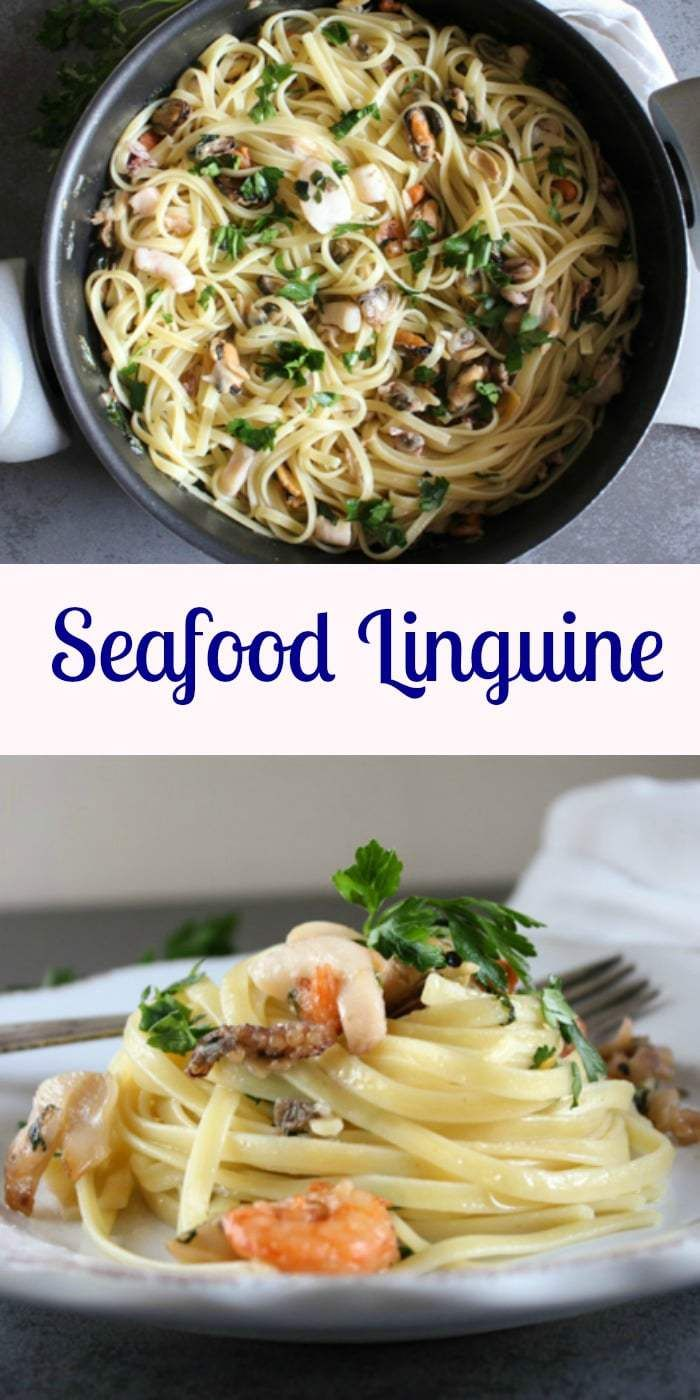 Seafood Linguine, an easy healthy Italian Pasta recipe, a perfect family or company dinner, made with olive oil, and your favorite seafood. anitalianinmykitchen.com