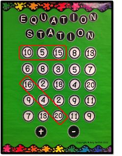 This board can be used to allow students to interpret equations.  A student must be able to recognize what number can form the equation.