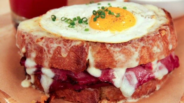 Croque Madame | Steven and Chris | This wonderful brunch dish from Chef Lynn Crawford is luxurious, combining melted Gruyere cheese with rich Montreal smoked meat.