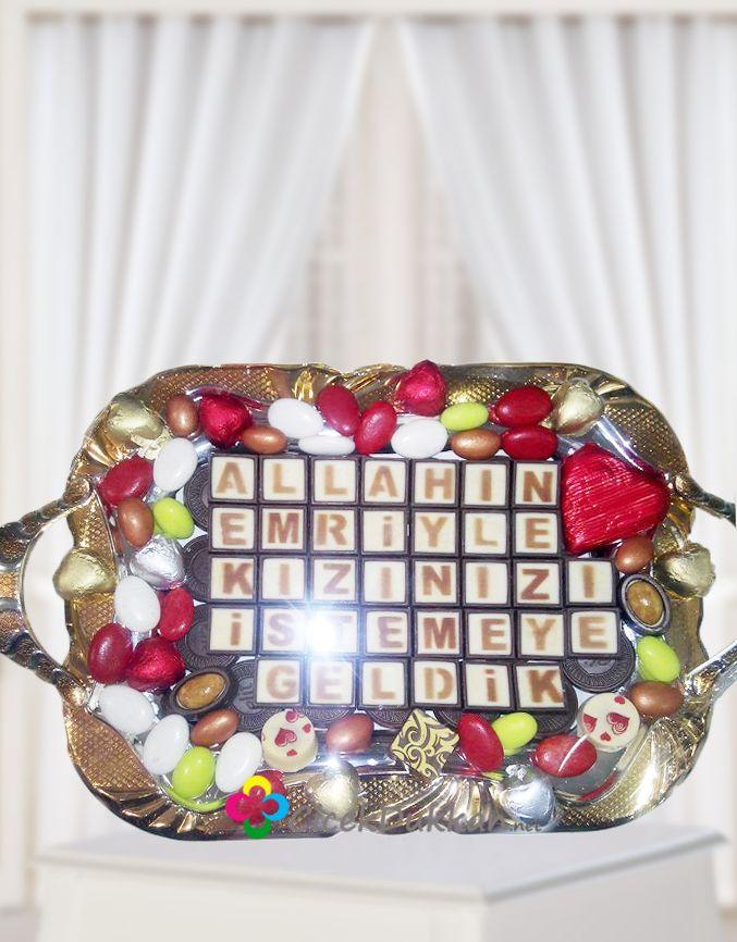 Kız isteme çikolataları,çeşitli tepsi ve çikolota çeşitleriyle