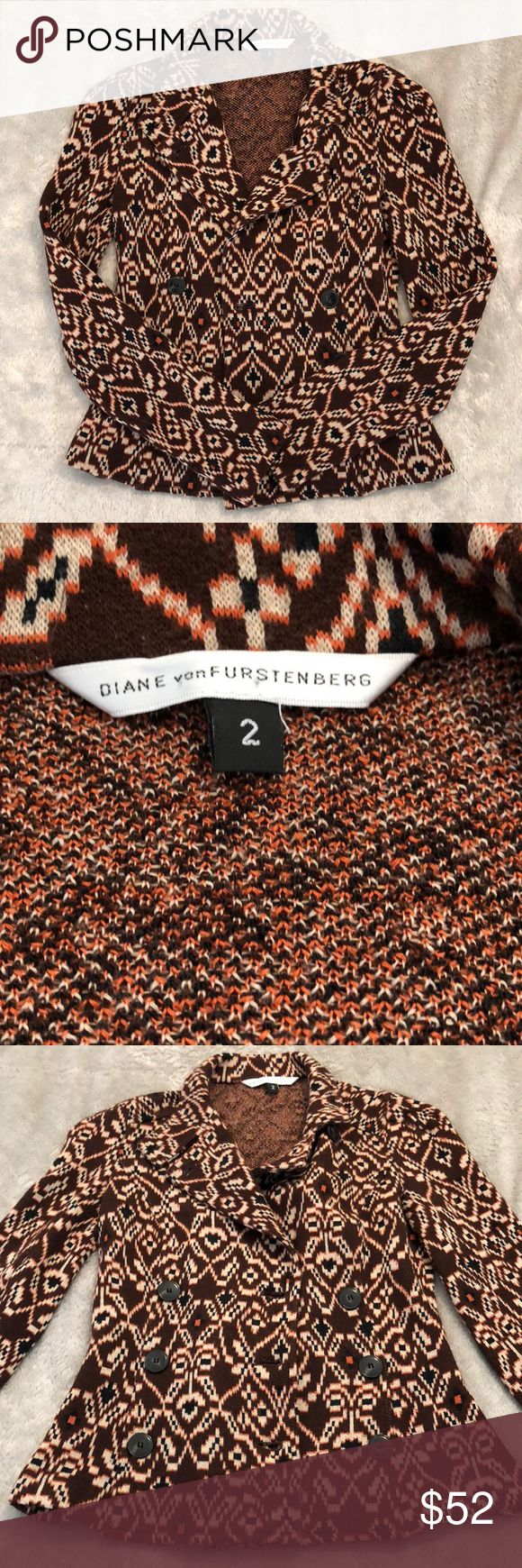 DVF Tribal Print Sweater Jacket Beautiful Diane Von Furstenberg Tribal Print Sweater Jacket. Size 2. Polyester/Wool blend. In excellent condition. All reasonable offers welcome! ❤️ Diane Von Furstenberg Sweaters