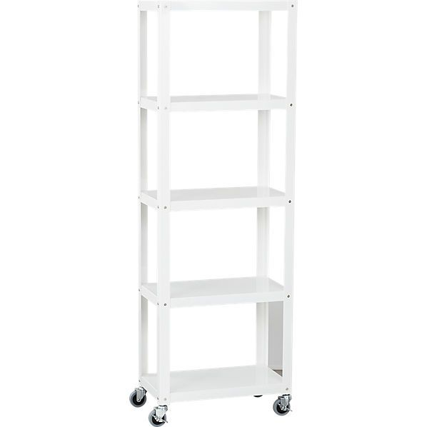 Nifty Metal Office Worker In Brite White Powdercoated Finish Rolls Into  Place On Four Commercial Wheels; Two Wheels Lock. Five Fixed Shelves Stash  Printer, ...
