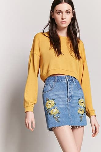 f84db5156de Embroidered Denim Mini Skirt | Products | Forever 21, Denim mini ...