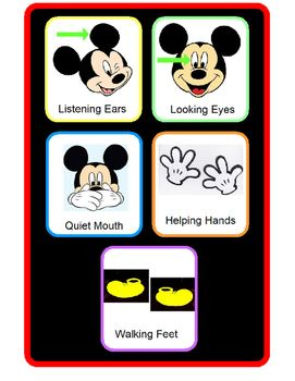 Five easy classroom rules as told by Mickey Mouse!
