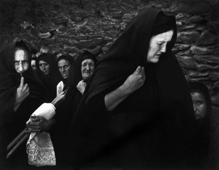 """W. Eugene Smith SPAIN. Extremadura. Province of Caceres. Deleitosa. 1951. Women mourning at Juan Carra Trujillo's funeral. From """"Spanish Village"""" photo-essay."""