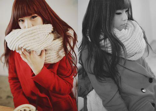 scarf: Ulzzang Girls, Style Inspiration, Style Pinboard, Scarfs, Big Scarf