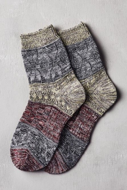 Red and LIme Heathered Crew Socks — Earthbound Trading Company