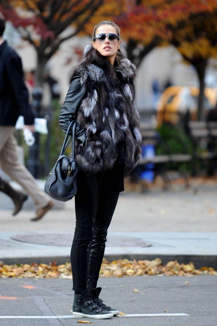 Alessandra Ambrosio in High Fashion Silver Fox Fur Vest