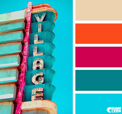 Color pallet, color scheme, color inspiration, color combinations, paint, home, hue, tones, shade, living room, bedroom, bright, colorful, bold, blue, green, fuchsia, orange, cream