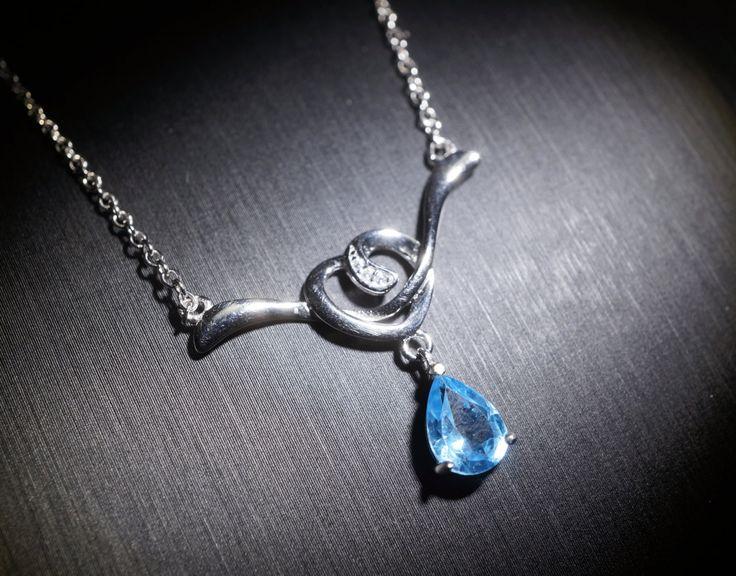 Teardrop Blue Topaz Necklace - Sterling Silver Natural Swiss Blue Topaz Pendant - CZ Necklace YN028
