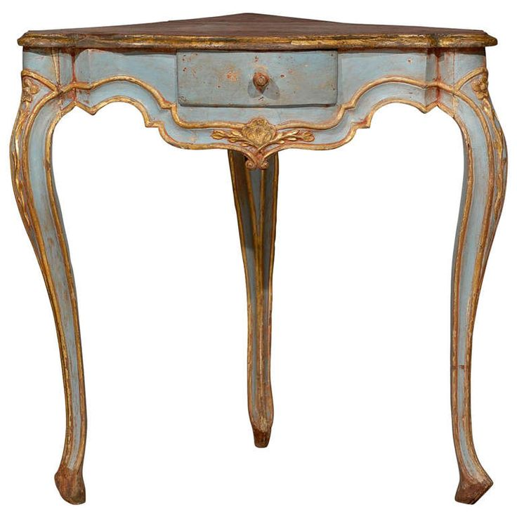 Painted Blue Corner Table with Cabriole Legs | From a unique collection of antique and modern tables at https://www.1stdibs.com/furniture/tables/tables/