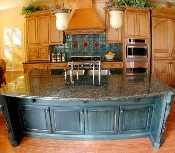 Cobalt blue kitchen cabinets and tile