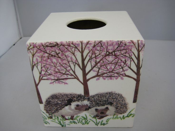 Hedgehog Tissue Box Cover wooden handmade by crackpotscrafts on Etsy