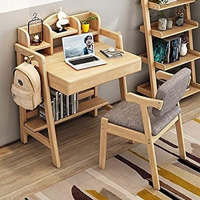 Amazon Com Kimiben Children S Study Table And Chair Wooden Learning Desk Child S Bedroom Student In 2020 Kids Study Table Study Table And Chair Kids Table And Chairs