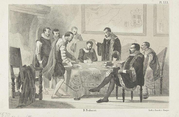 De ondertekening van de Unie van Utrecht, 1579, Willem Pieter Hoevenaar, 1853 - 1861