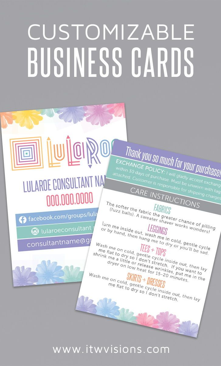 Lularoe Digital Files Or Prints Can Be Ordered At Itwvisions Com I Love This Watercolor Flow Lularoe Business Cards Customizable Business Cards Card Templates