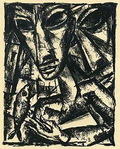 Burchartz, Max | Max Burchartz Original-Lithographie Paar mit Fisch 1919 | eBay