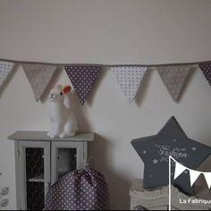 banderole guirlande de fanions gris fonc gris clair blanc petites toiles grises claires et - Chambre Bebe Gris Fonce