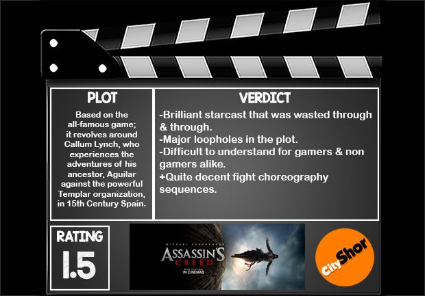 Movie Review: #AssassinsCreed 1.5 on 5 Shor. #MovieReview #Hollywood #Entertainment #CityShorAhmedabad