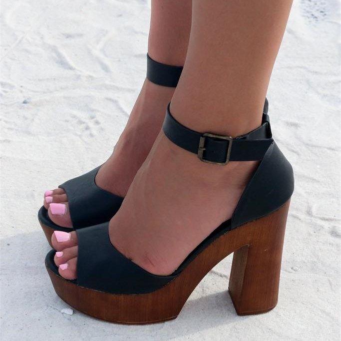 Block Heel Sandals Black Peep Toe Ankle