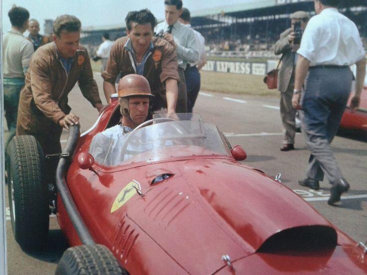 Peter John Collins (GBR) (Scuderia Ferrari), Ferrari Dino 246 - Ferrari 143 2.4 V6 (finished 1st)  1958 British Grand Prix, Silverstone Circuit