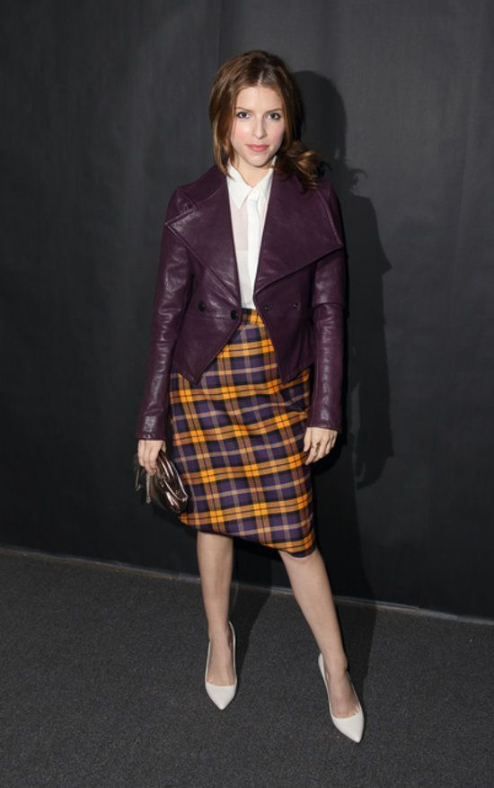 London Bound! Celebrities Take Their Seats in the Front Row: Anna Kendrick shows there's no better way to turn up to Vivienne Westwood than in tartan.