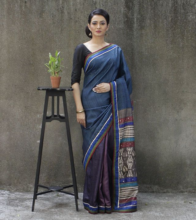 Indigo Blue Tussar Silk Saree with Batik Work