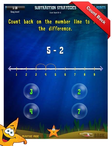 First Grade Math Apps - Subtraction strategies - Count back Worksheet