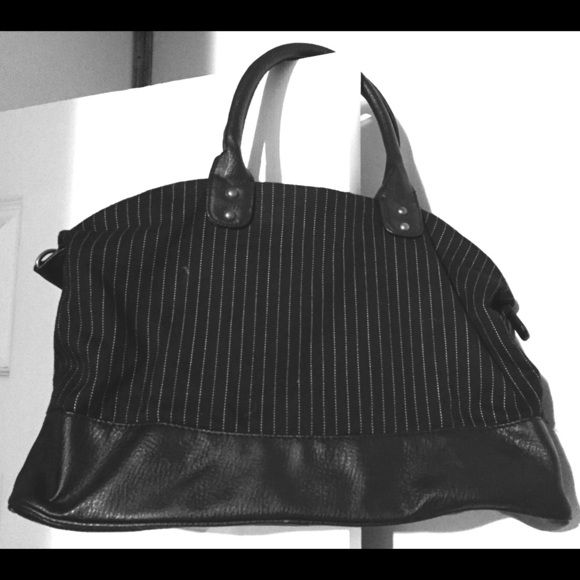 Gap handbag Like new, barely used. Black with white stripes. Leather bottom and handles GAP Bags