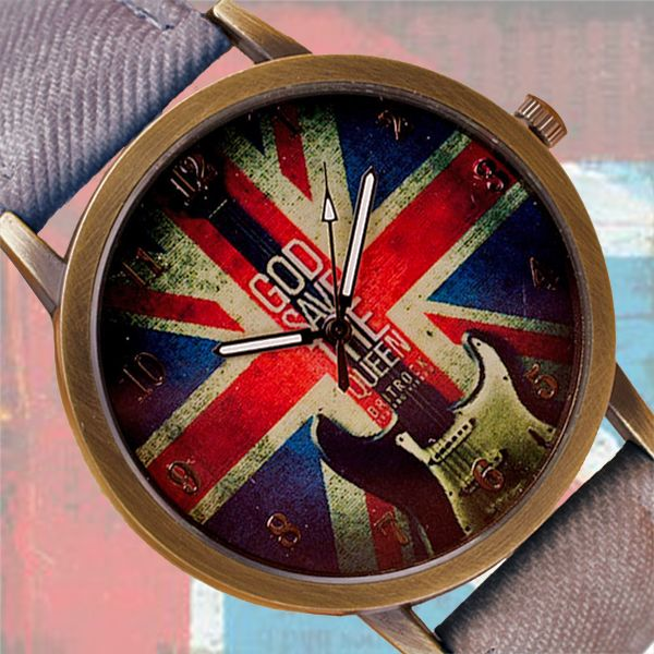 Watch for true born rockers! Decorated with UK flag and electric guitar in the center of the dial. Strap in jeans style, color light-blue.