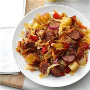 Kielbasa Hot Potato Slaw   Recipe -I like the challenge of cooking lighter meals that pack big flavor. This one, which came from a dear friend, fits the bill. My son rated it a 10 out of 10! —Beverly Batty, Forest Lake, Minnesota