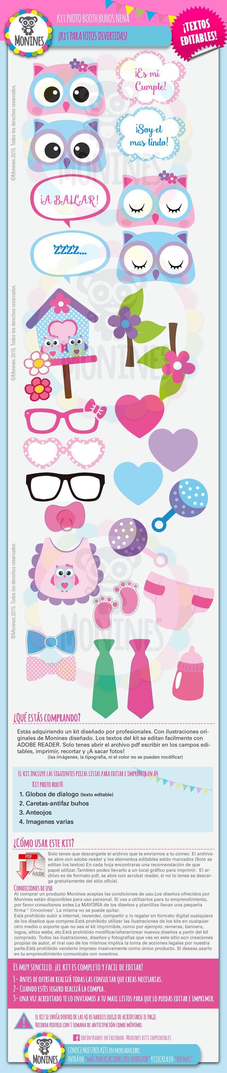 Kit Imprimible Photobooth Buhos Nena. Cumpleaños-baby Shower - $ 30,00 en MercadoLibre
