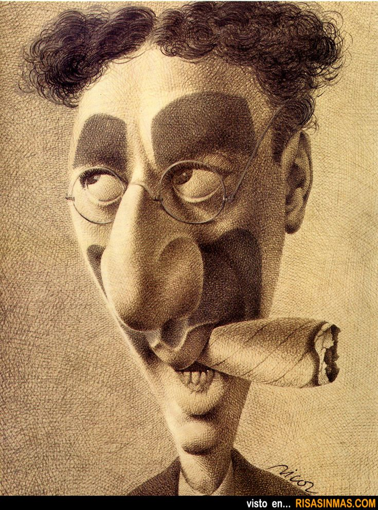 Caricature of Groucho Marx.