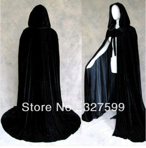 Wish | leechenn New Black Velvet Black Satin Lined Hooded Vampire Cape Halloween Party Cloak Size M-XXL 1201